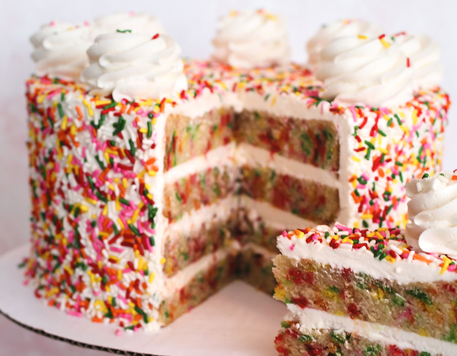 gourmet cake with sprinkles
